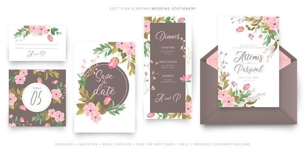 Мягкая розовая и коричневая коллекция свадебных пригласительных билетов Бесплатные векторы