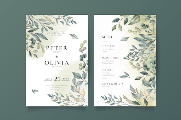 エレガントな結婚式の招待状とメニューテンプレート 無料ベクター