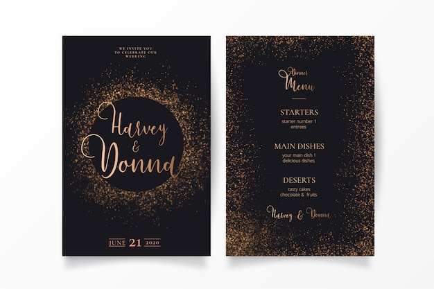 Элегантное свадебное приглашение с золотой искрой Бесплатные векторы