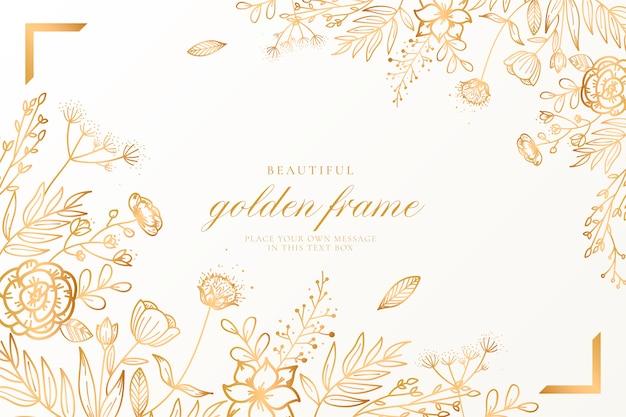 Красивый цветочный фон с золотой природой Бесплатные векторы