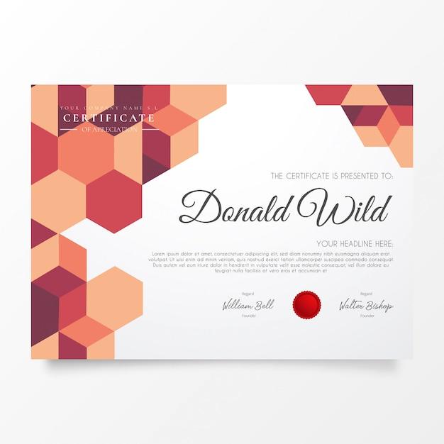 Современный бизнес сертификат с геометрическим рисунком Бесплатные векторы