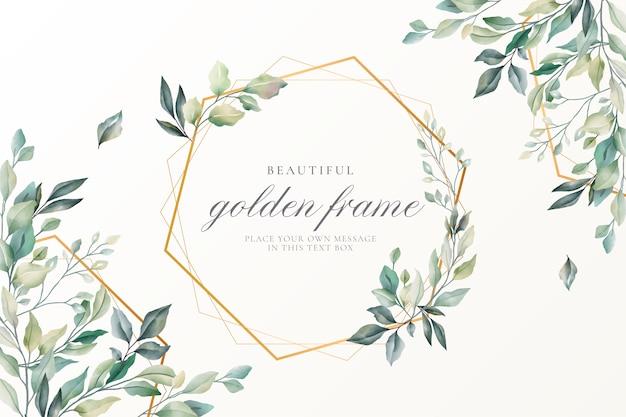 ゴールデンフレームと美しい花カード 無料ベクター