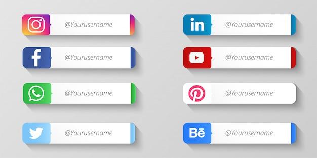 Современные социальные медиа нижние трети Бесплатные векторы