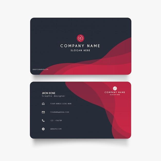 Современная визитная карточка с красными волнами Бесплатные векторы