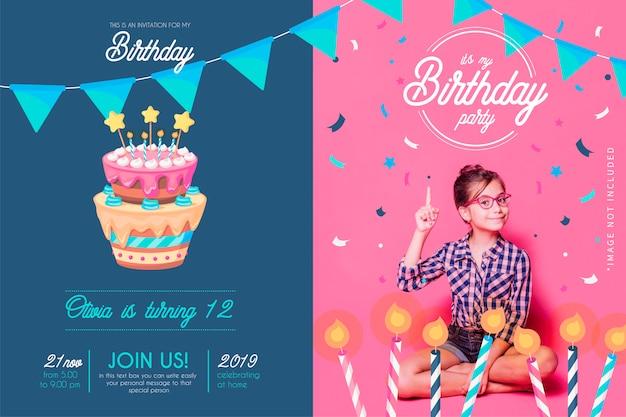 手描きの装飾と面白い誕生日の招待状のテンプレート 無料ベクター