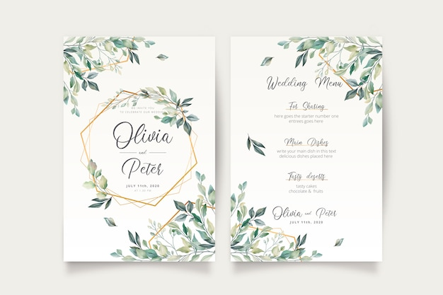 結婚式の招待状と美しい葉を持つメニューテンプレート 無料ベクター
