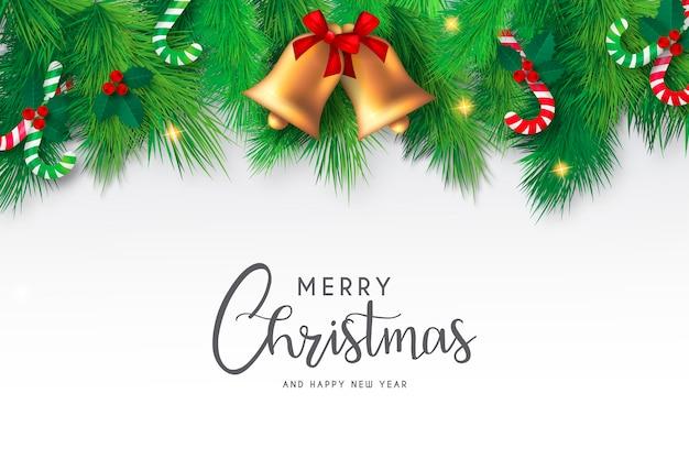 Рождественский фон с милыми колокольчиками и элементами Бесплатные векторы
