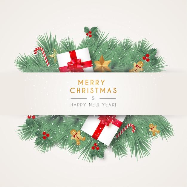 要素を持つモダンなメリークリスマスバナー 無料ベクター
