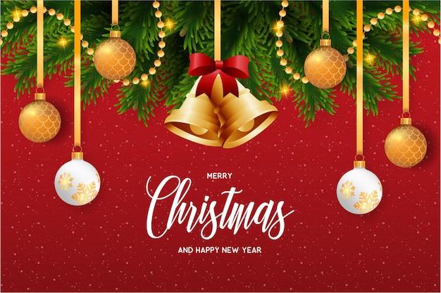 美しい装飾付きのクリスマスカード 無料ベクター