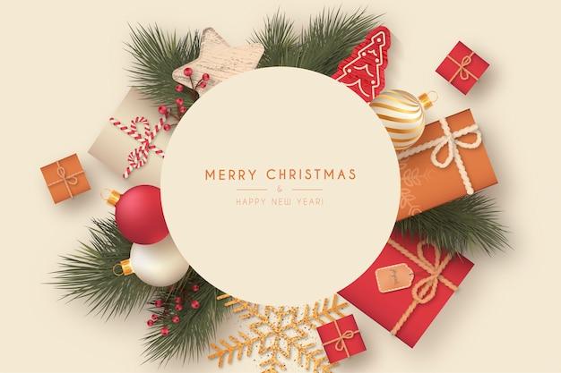 装飾的な要素を持つかわいいクリスマスフレーム 無料ベクター