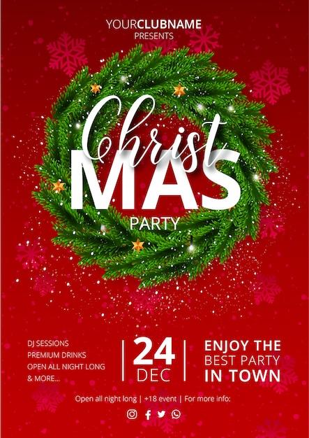 赤で素敵なクリスマスパーティーのポスター 無料ベクター