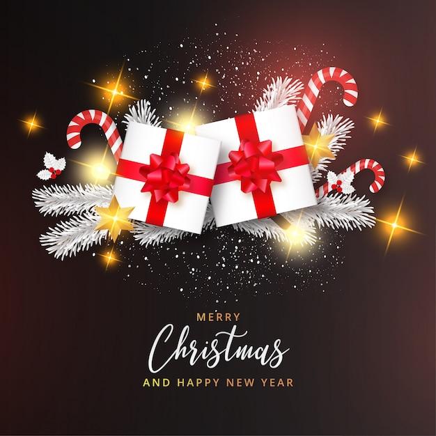現実的なメリークリスマスと幸せな新年カードとモダンなデザインテンプレート 無料ベクター