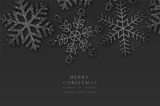 スパークリングスノーフレークと黒のクリスマスの背景 無料ベクター