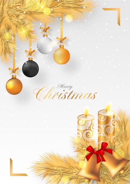 ろうそくや装飾品で黄金のクリスマス背景 無料ベクター