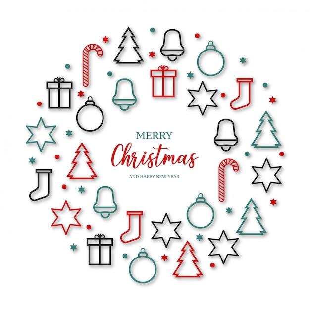 Красивый веселый рождественский баннер с иконами Бесплатные векторы