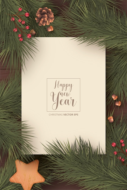 冬の自然と現実的なクリスマスカード 無料ベクター