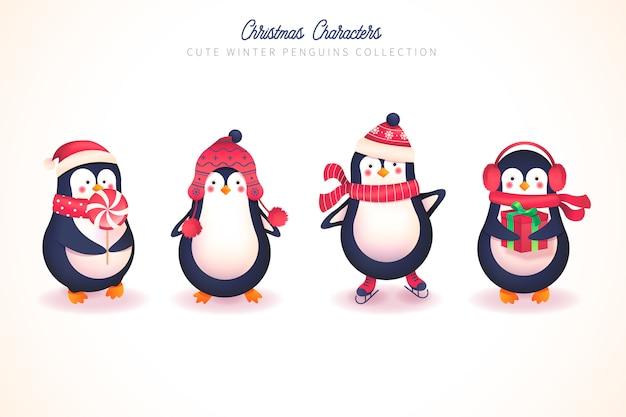 Симпатичная зимняя коллекция пингвинов на рождество Бесплатные векторы
