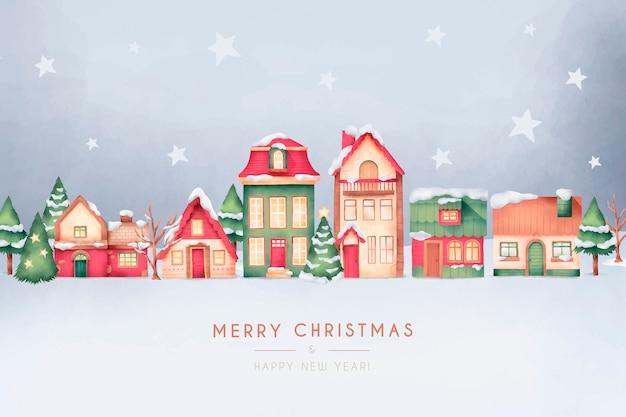水彩風のかわいいクリスマスタウンカード 無料ベクター