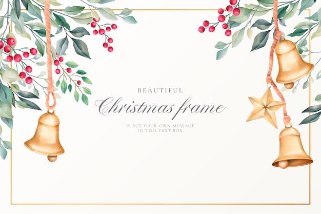 かわいい装飾と水彩のクリスマス背景 無料ベクター