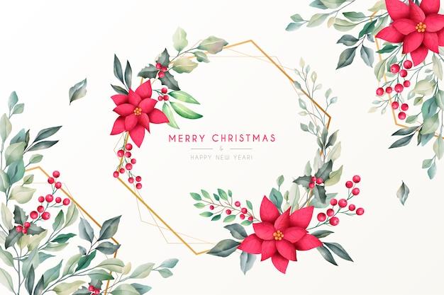 水彩自然と美しいクリスマスの背景 無料ベクター