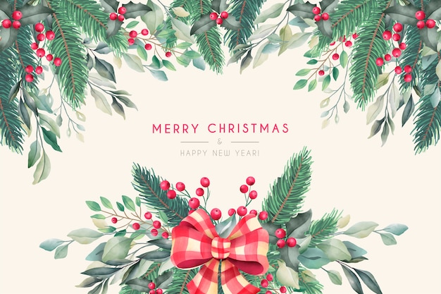 冬の自然と水彩のクリスマス背景 無料ベクター