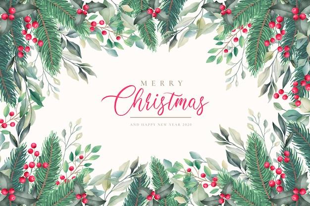 冬の自然とエレガントなクリスマス背景 無料ベクター