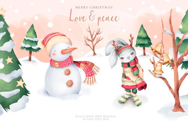 かわいいキャラクターと素敵な水彩画のクリスマスカード 無料ベクター