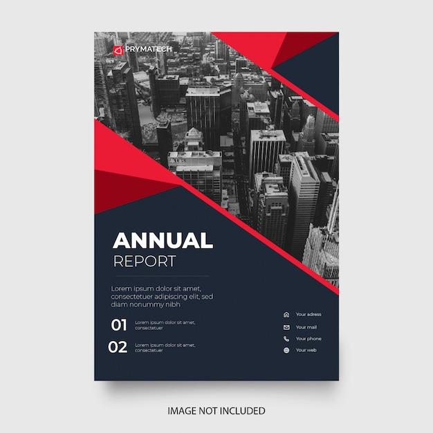 赤い形のモダンな年次報告書テンプレート 無料ベクター