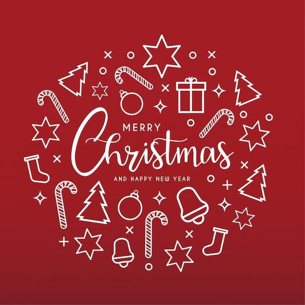 Чистая открытка с иконами с новым годом и рождеством Бесплатные векторы