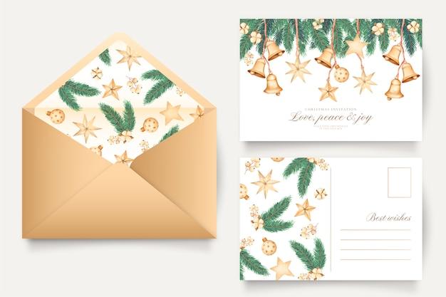 クリスマスのグリーティングカードと封筒テンプレート 無料ベクター