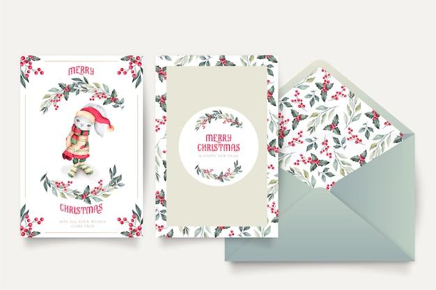 Прекрасная рождественская открытка шаблон с конвертом Бесплатные векторы