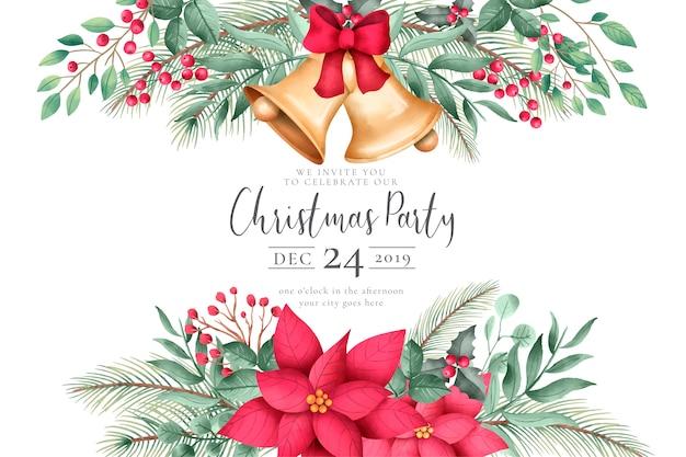 装飾品で水彩のクリスマスの招待状 無料ベクター