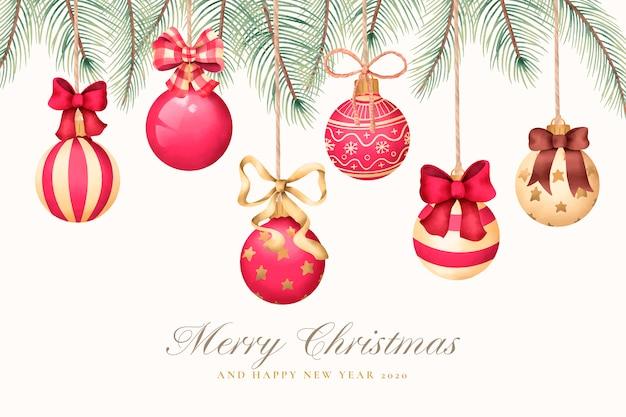 クリスマスボールと水彩のクリスマスグリーティングカード 無料ベクター