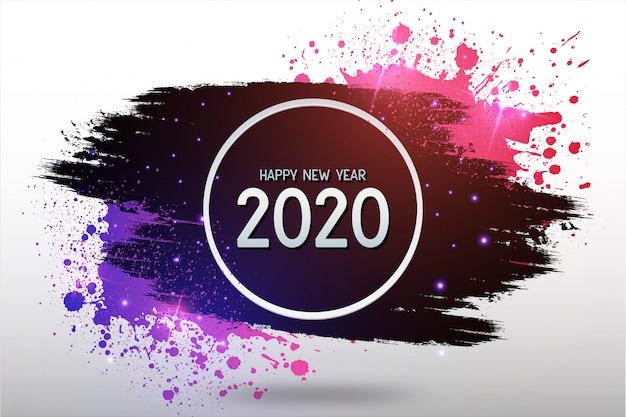 カラフルなスプラッシュと現代の幸せな新年の背景 無料ベクター