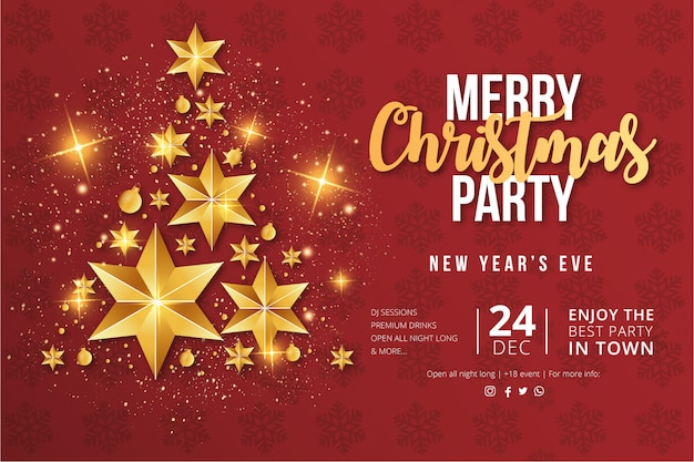メリークリスマスパーティーのフライヤーテンプレート 無料ベクター