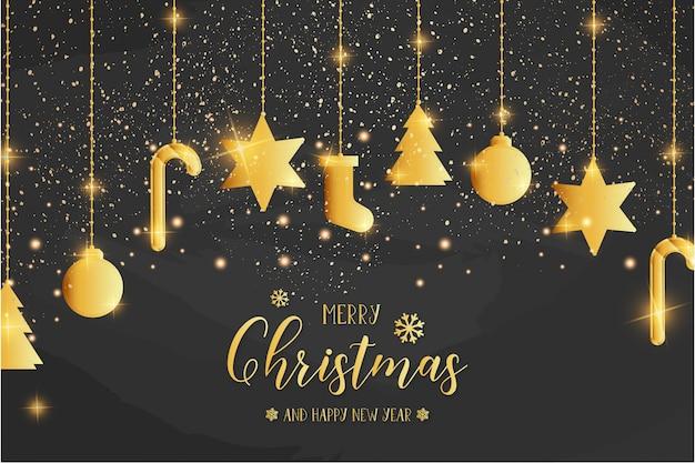 金色のアイコンでメリークリスマスカードテンプレート 無料ベクター