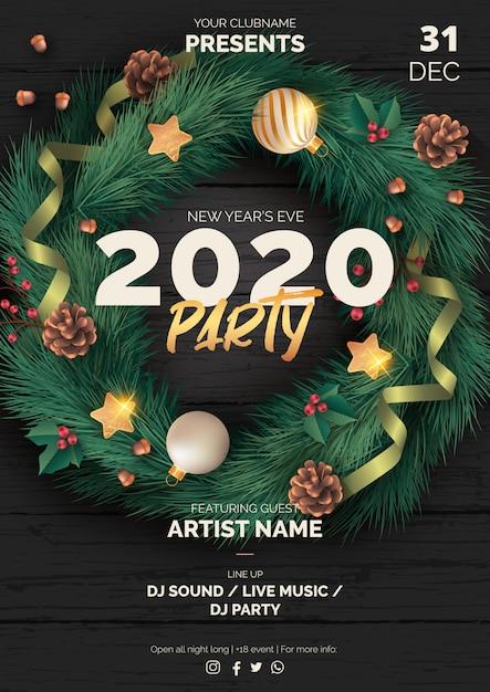 黒い木と現実的なクリスマスパーティーポスターテンプレート 無料ベクター
