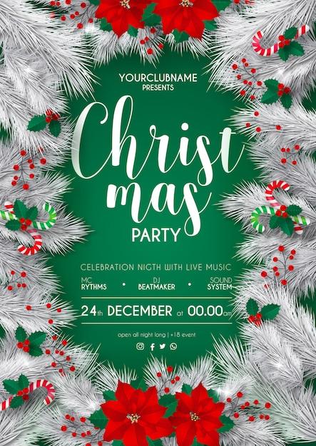 エレガントな白と緑のクリスマスパーティーポスターテンプレート 無料ベクター