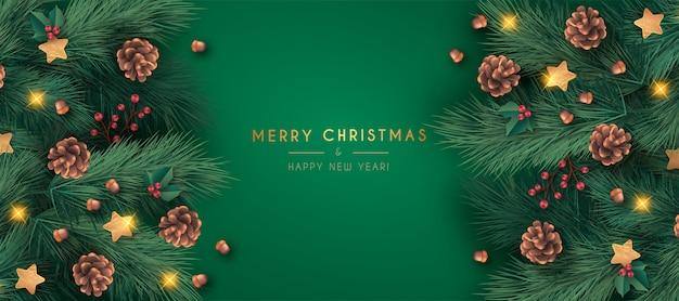 リアルなメリークリスマスバナーテンプレート 無料ベクター