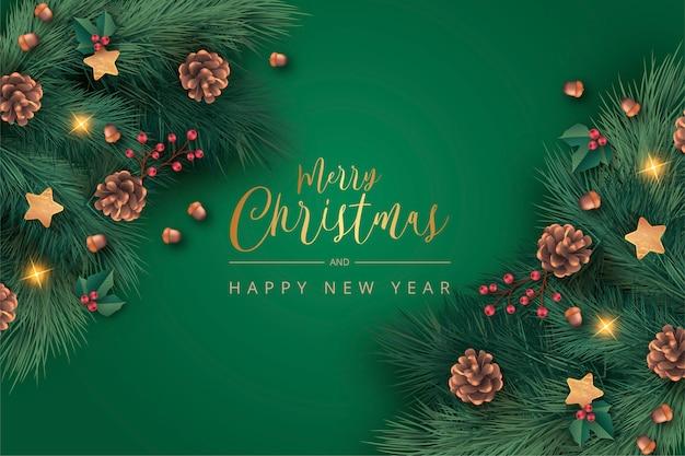 現実的な緑のクリスマス背景 無料ベクター