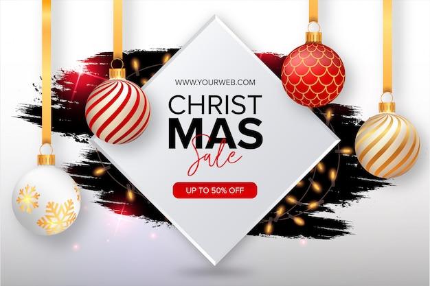 Симпатичные рождественские продажи баннер с всплеск Бесплатные векторы