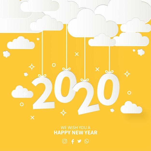 Современная открытка с новым годом с плоским дизайном Бесплатные векторы
