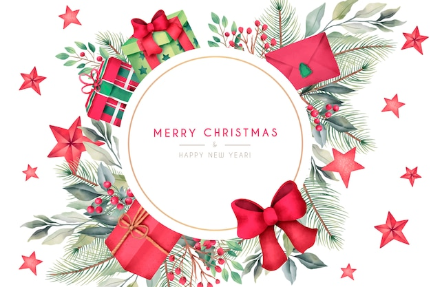 水彩のプレゼントと装飾付きのクリスマスカード 無料ベクター