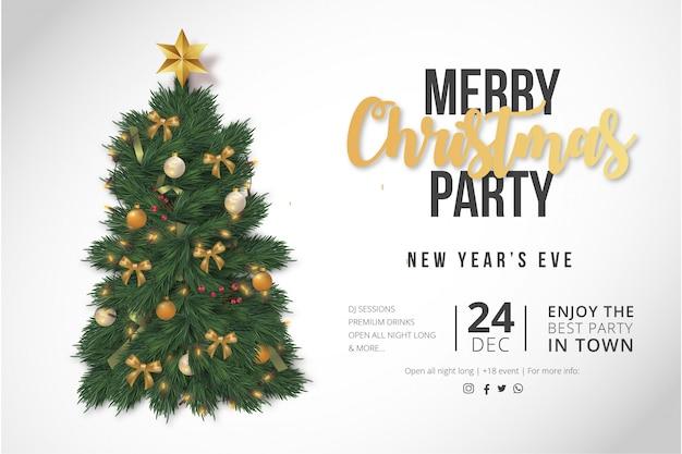 モダンなメリークリスマスパーティーポスターテンプレート 無料ベクター