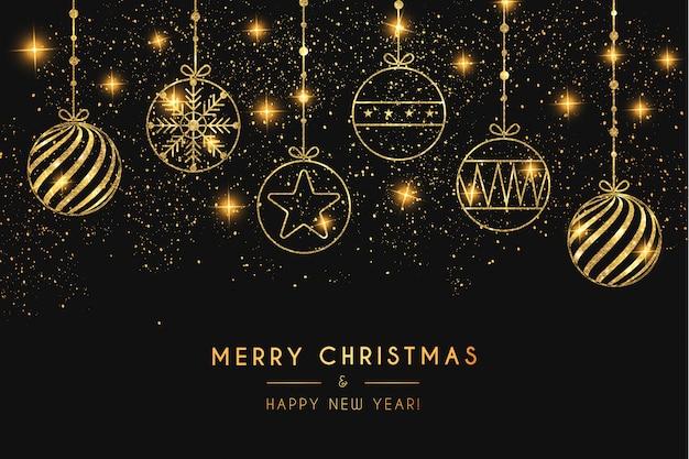 ゴールデンボールとエレガントなメリークリスマスの背景 無料ベクター