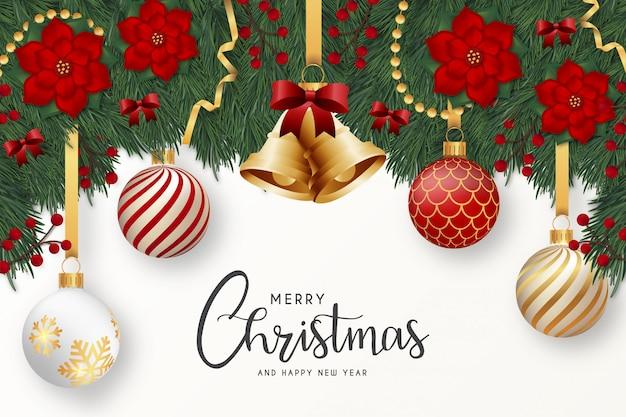 現実的な装飾が施されたモダンなメリークリスマスと幸せな新年のグリーティングカード 無料ベクター
