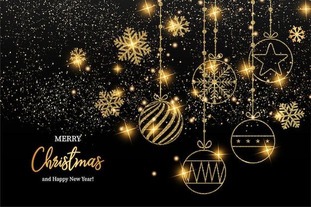 エレガントなメリークリスマスと幸せな新年のグリーティングカード 無料ベクター