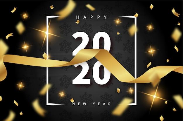 Современная открытка с новым годом с золотой лентой Бесплатные векторы