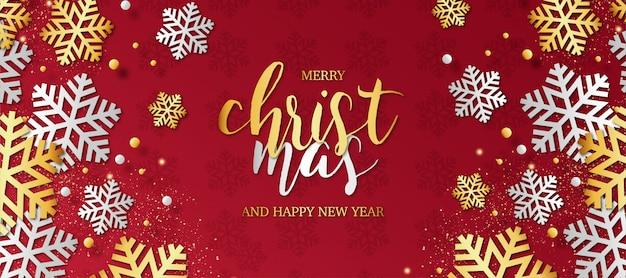 Современная новогодняя открытка со снежинками Бесплатные векторы