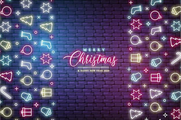 ネオンの明かりでモダンなクリスマスバナー 無料ベクター